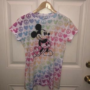 Rainbow Mickey heart and peace sign shirt